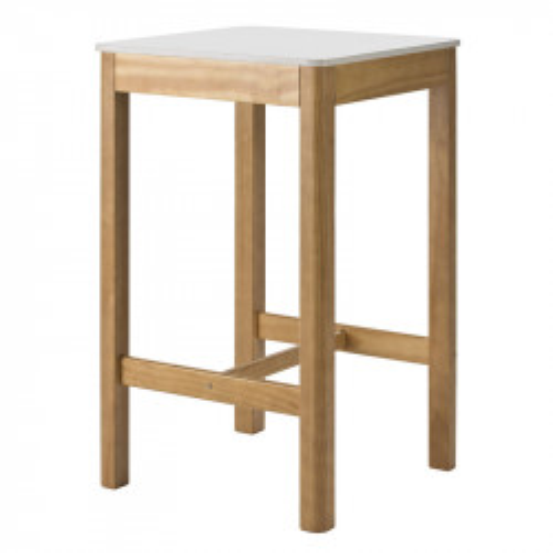 Table haute carrée Blanc et Bois - GUZMAN