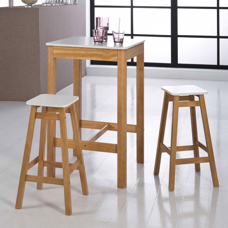 Table haute carrée + 2 Tabourets Blanc et Bois - GUZMAN