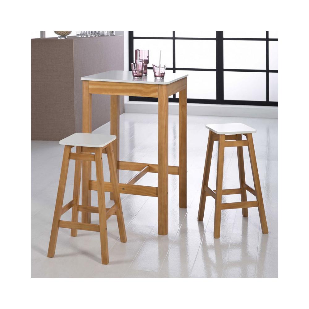 table haute carr e 2 tabourets blanc bois guzman salle. Black Bedroom Furniture Sets. Home Design Ideas
