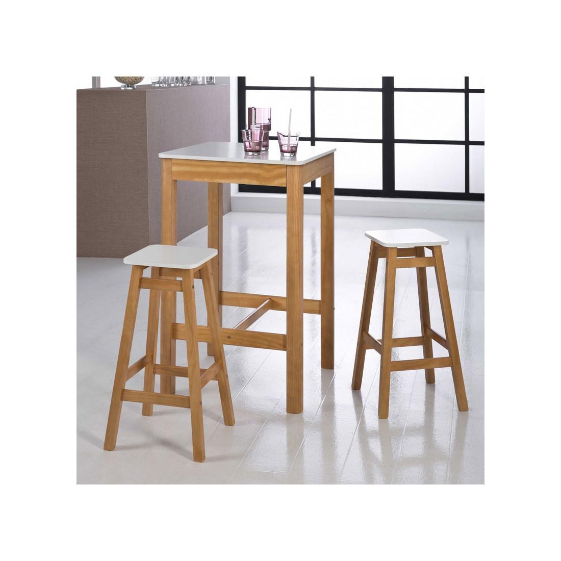 Table haute carrée + 2 Tabourets Blanc/Bois GUZMAN - Salle à ...