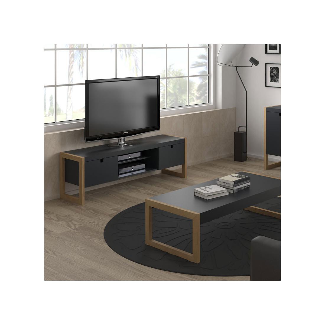 Meuble Tv 2 Portes Gris Anthracite Chene Odile Univers Du
