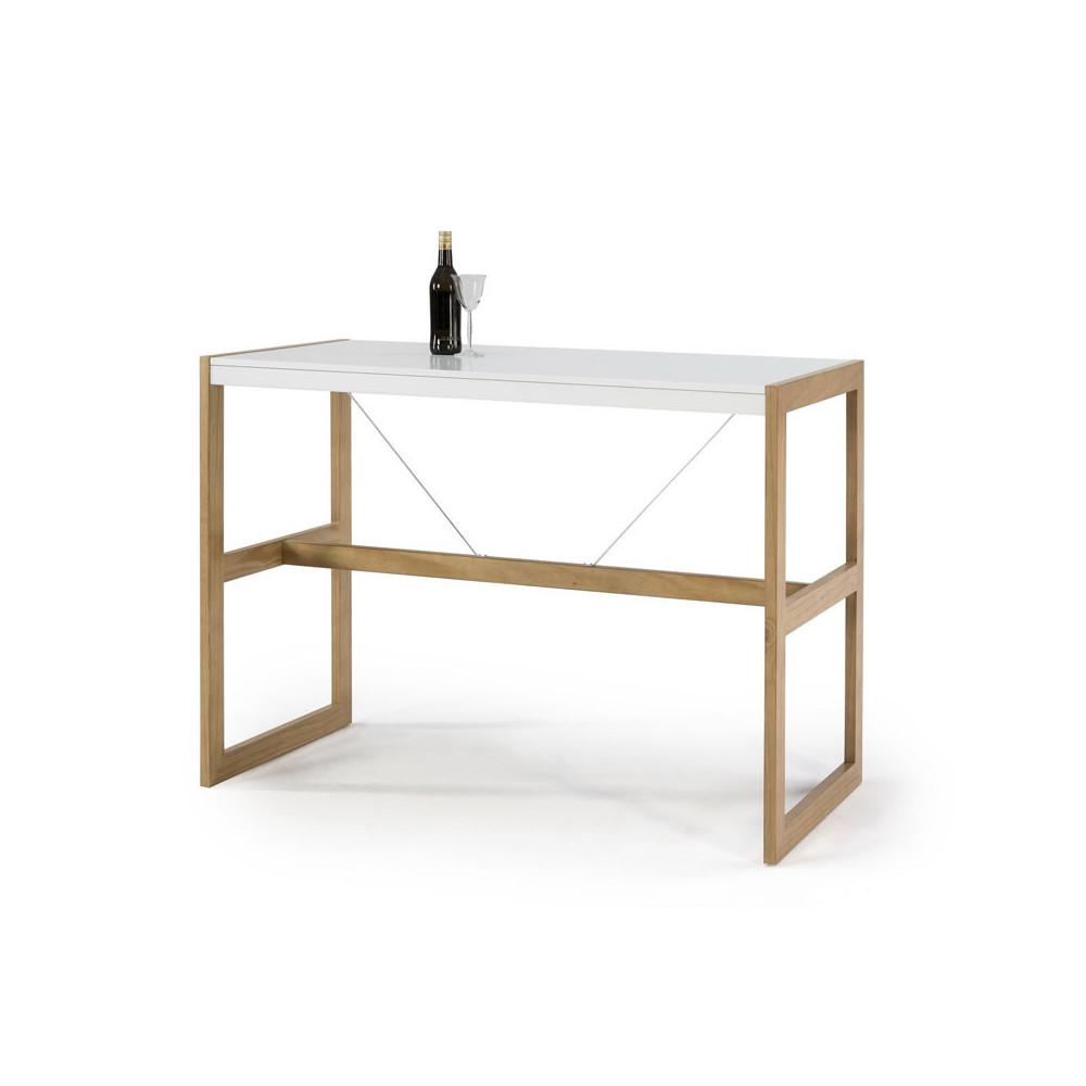 Table haute rectangulaire Blanc/Chêne - ODILE