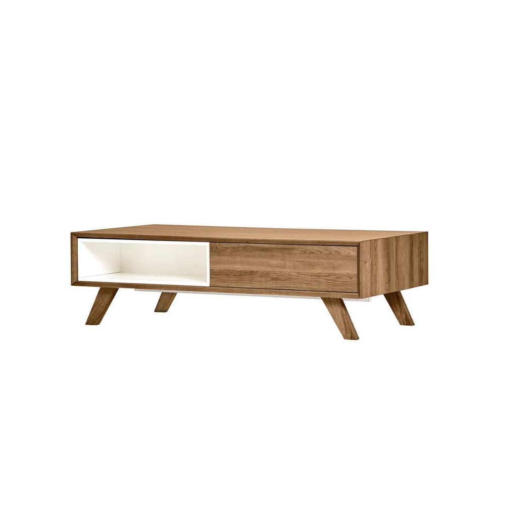 Table basse 1 tiroir Bois/Blanc - NADIA