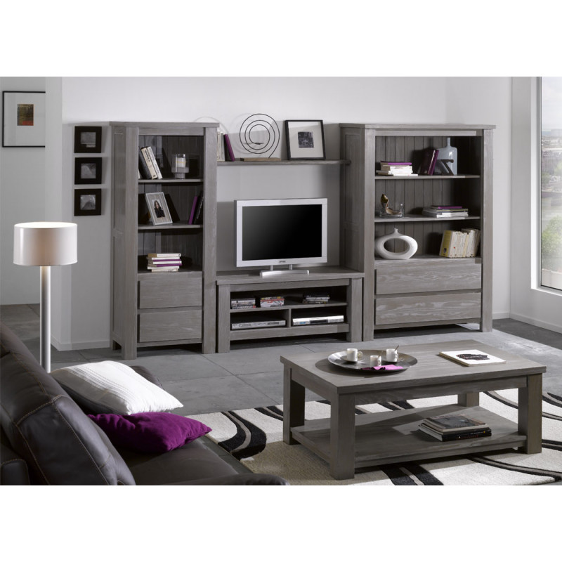 table basse 2 plateaux bois massif gris gabriel univers. Black Bedroom Furniture Sets. Home Design Ideas