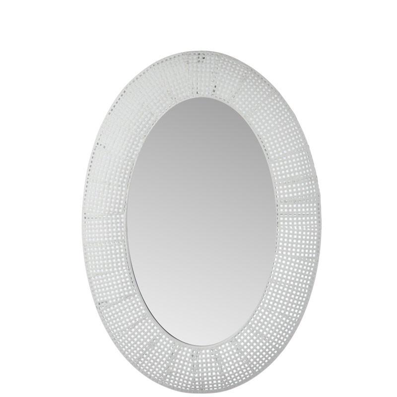 Miroir ovale grille Métal blanc - NEBOB