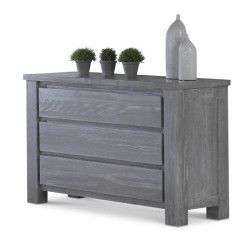 Commode 3 tiroirs Pin massif Gris - GABRIEL