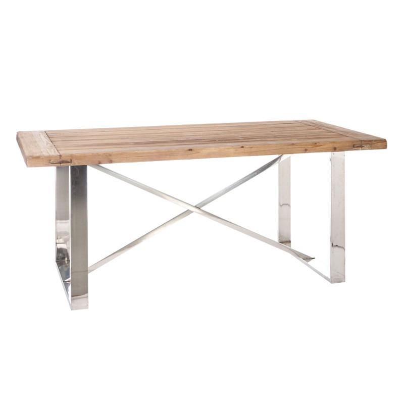 Table de repas bois et métal brillant - BENY