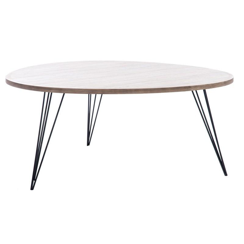 Table basse bois fumé et métal noir - GUSTAVE