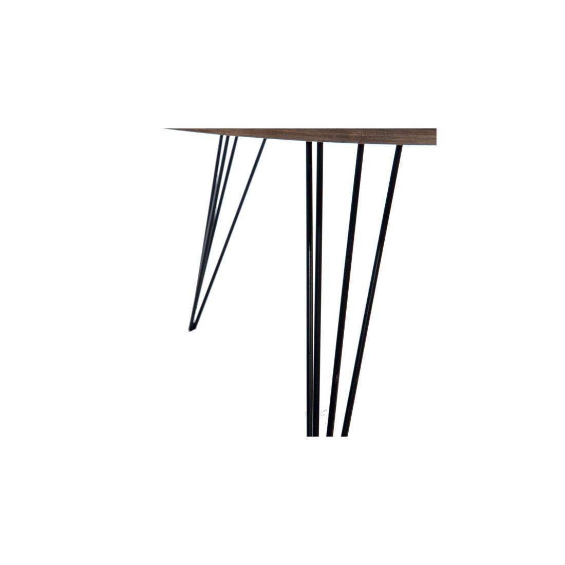 Table basse bois fum et m tal noir gustave univers salon - Table basse metal noir ...