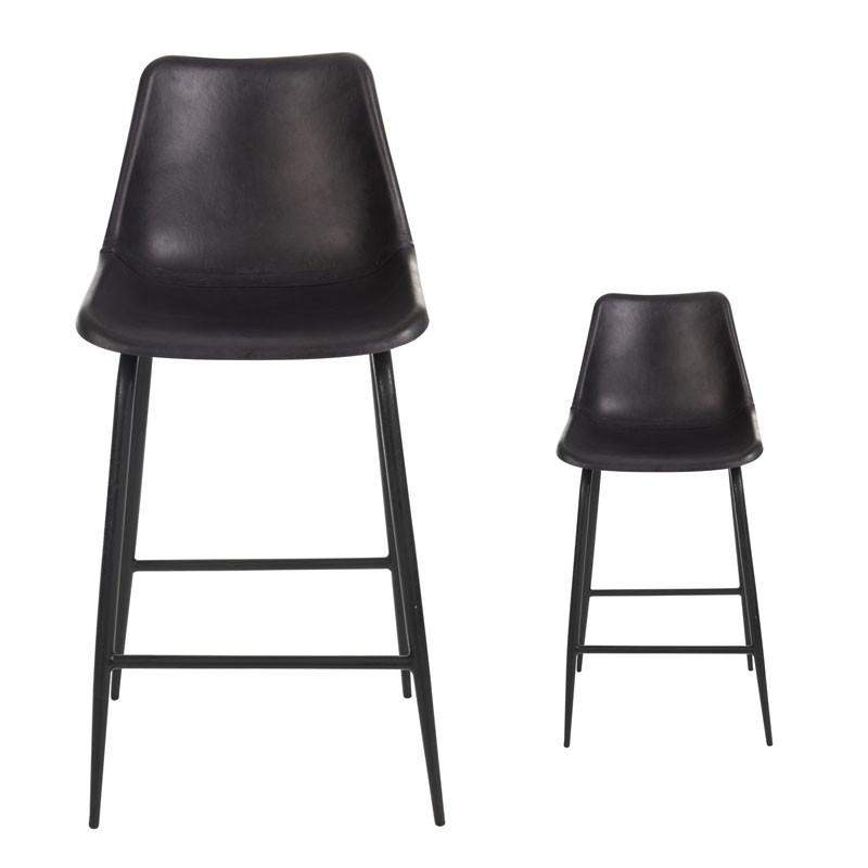 Duo de Chaises de bar en Cuir Noir - LAURA
