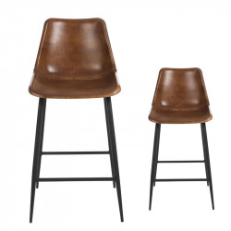 Duo de Chaises de bar en Cuir Cognac - LAURA