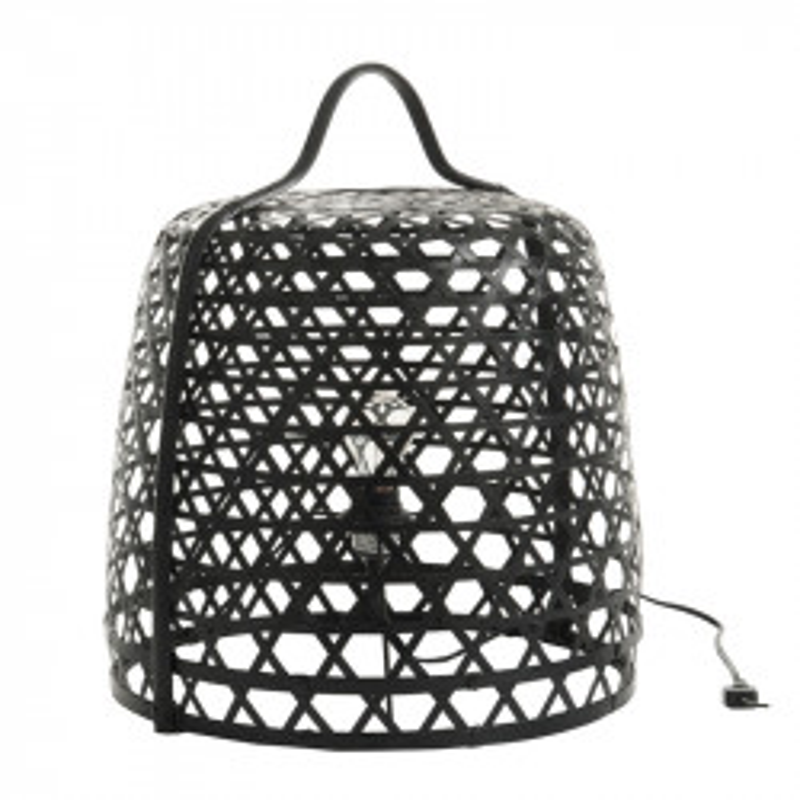 Lampe à poser ronde Bambou noir - BERTHA