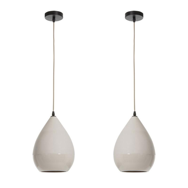 Duo de Suspensions poire Porcelaine gris - KENDRA