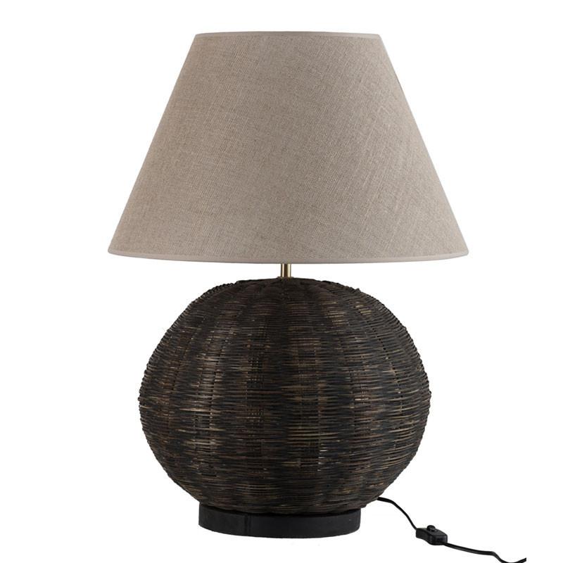 Lampe de chevet ronde Bambou noir - LETA