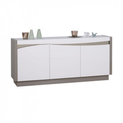 Buffet 3 portes Taupe/Blanc brillant - CHANTALE