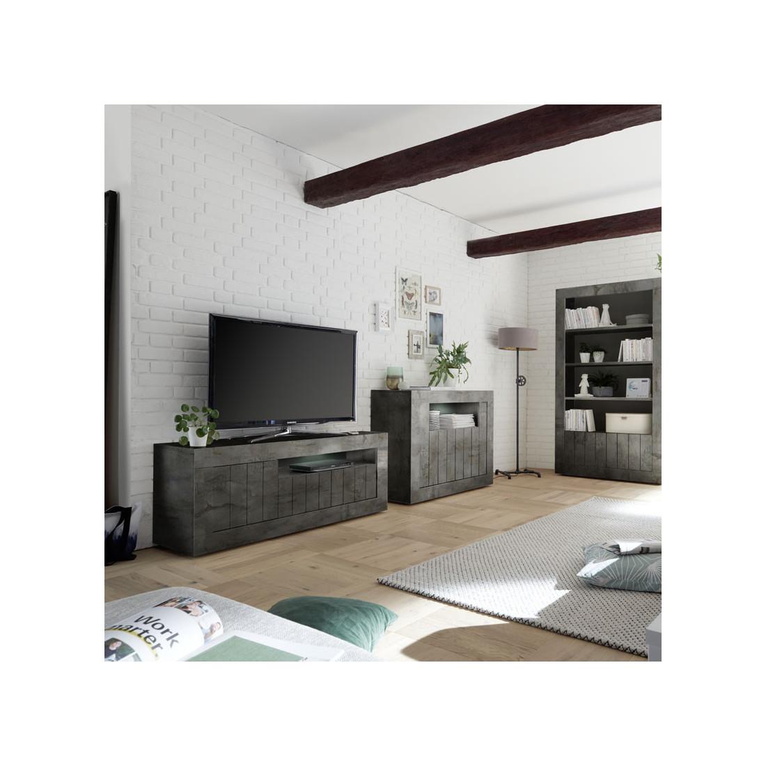 meuble tv 3 portes 1 niche b ton cir fonc lubio. Black Bedroom Furniture Sets. Home Design Ideas