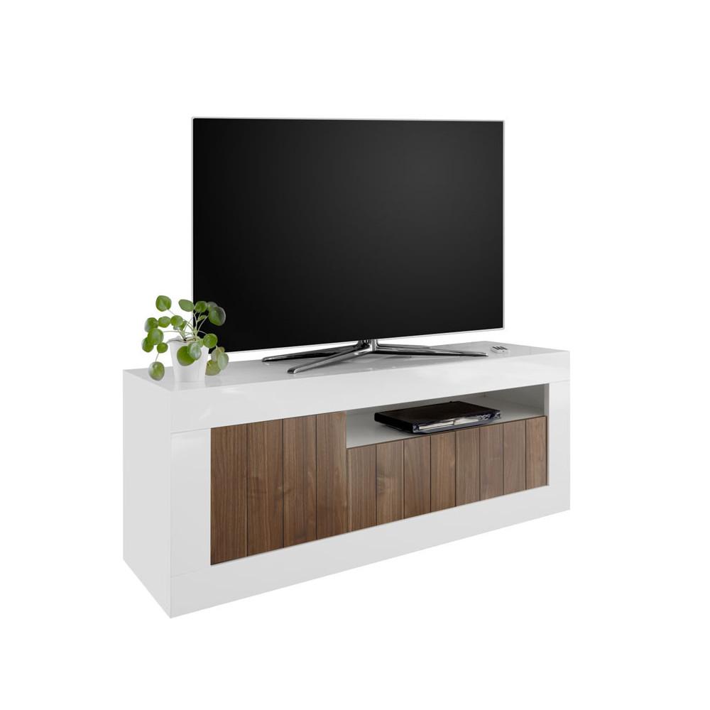 Meuble TV 3 portes Blanc/Noyer - LUBIO