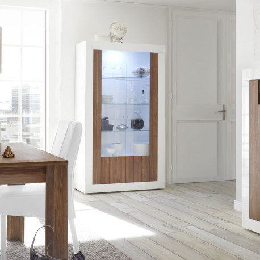 Vitrine 2 portes Blanc/Noyer à LEDs - LUBIO