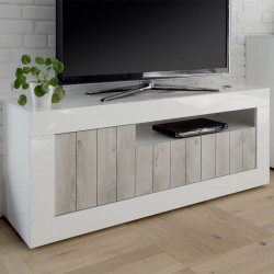 Meuble TV 3 portes Blanc/Pin blanc - LUBIO