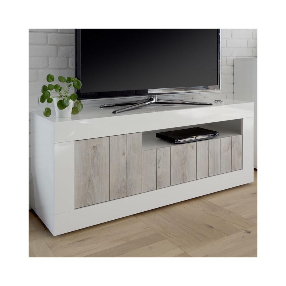 Meuble TV 3 portes Blanc/Pin blanc - LUBIO
