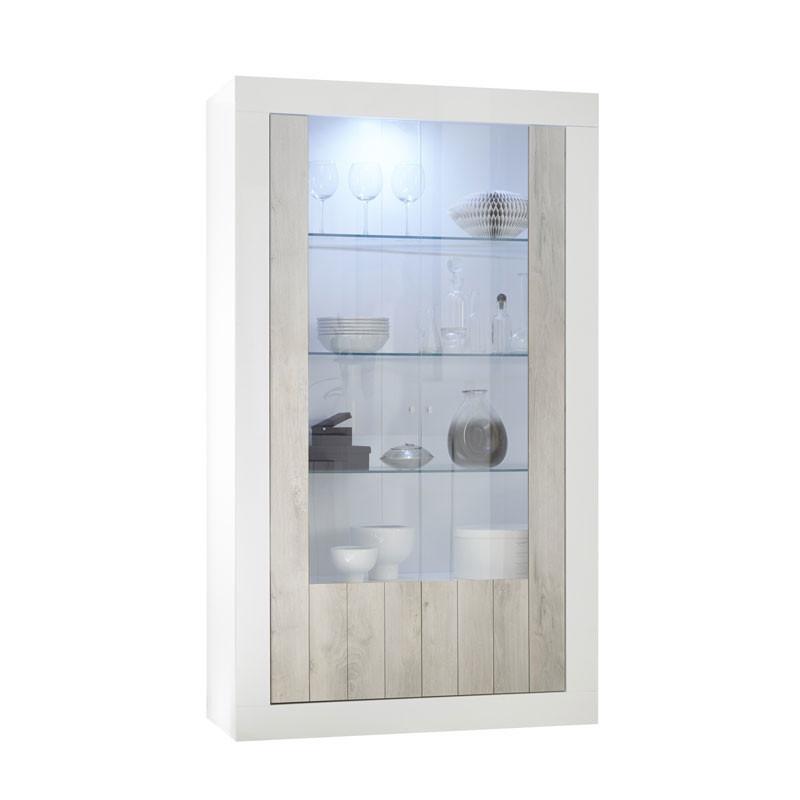 Vitrine 2 portes Blanc/Pin blanc à LEDs - LUBIO