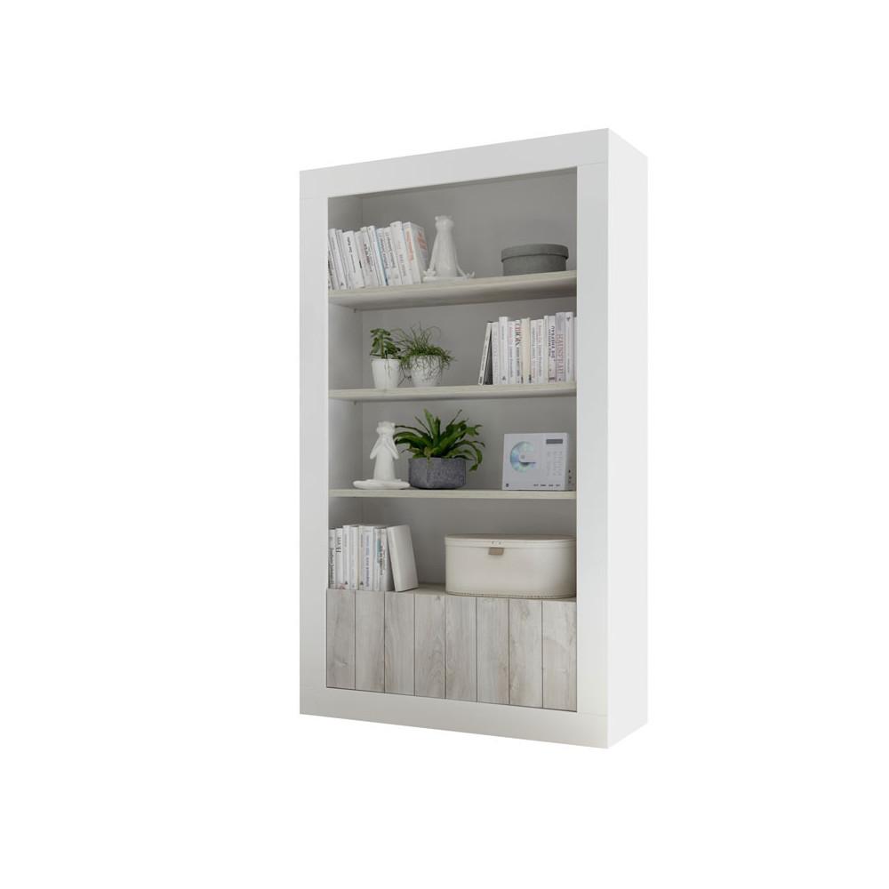 Bibliothèque 4 étagères Blanc/Pin blanc - LUBIO
