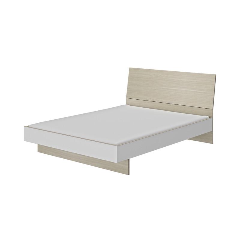 Cadre de lit + Tête de lit 160*200 scandinave bois clair blanc - Univers Chambre : Tousmesmeubles