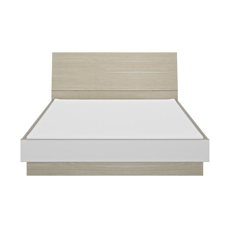 Cadre de lit à tiroir + Tête de lit 160*200 scandinave blanc bois clair - Univers Chambre : Tousmesmeubles