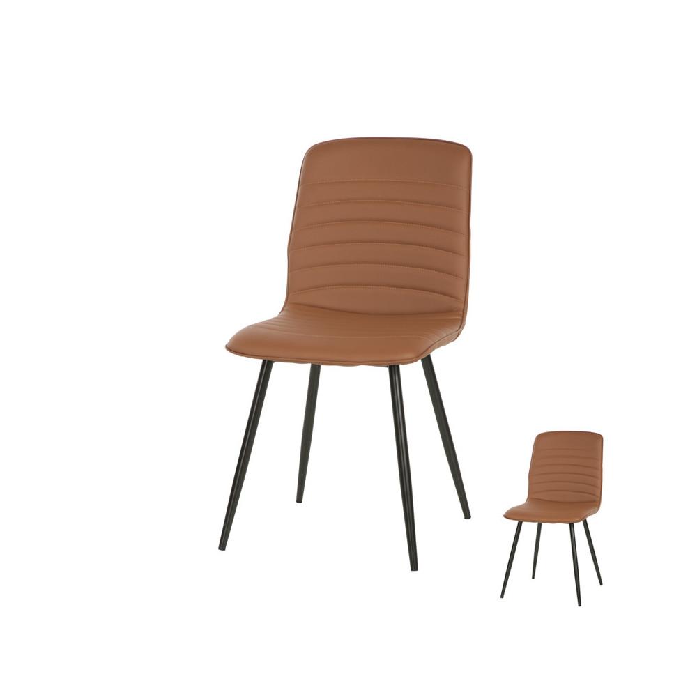 Duo de chaises Simili cuir Cognac contemporain SOTCHI - Univers Salle à Manger et Assises : Tousmesmeubles