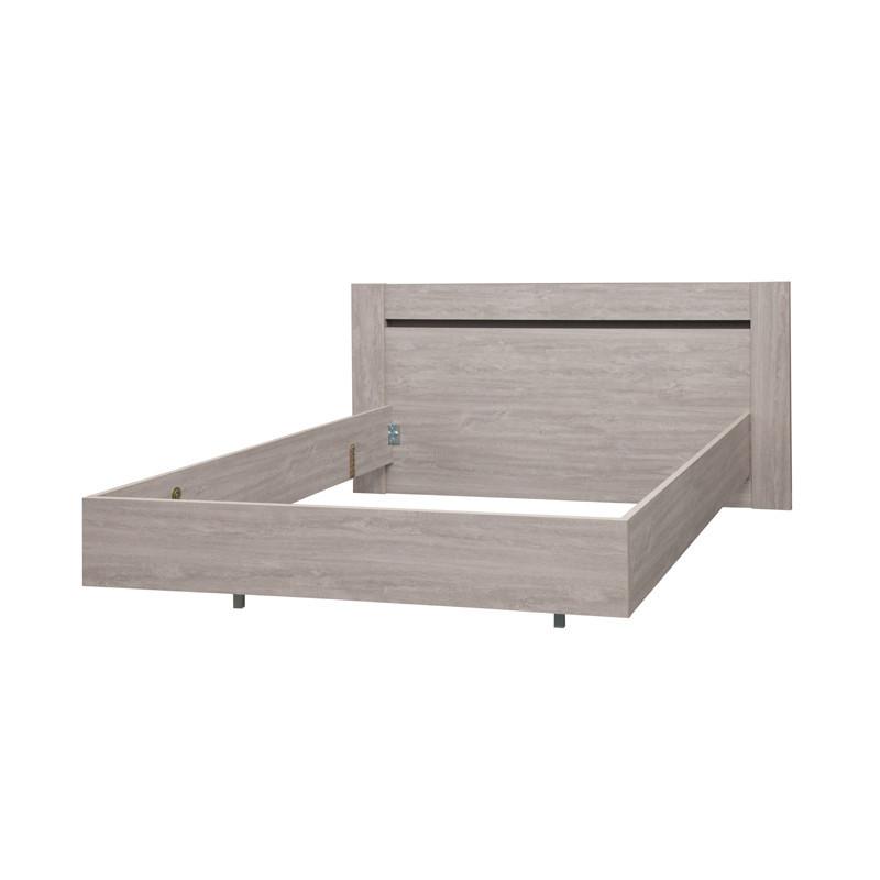 Cadre de lit + Tête de lit 140*190 bois chêne gris cendré moderne - Univers Chambre : Tousmesmeubles