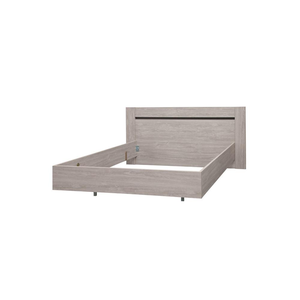 Cadre de lit + Tête de lit 180*200 bois chêne gris cendré moderne - Univers Chambre : Tousmesmeubles