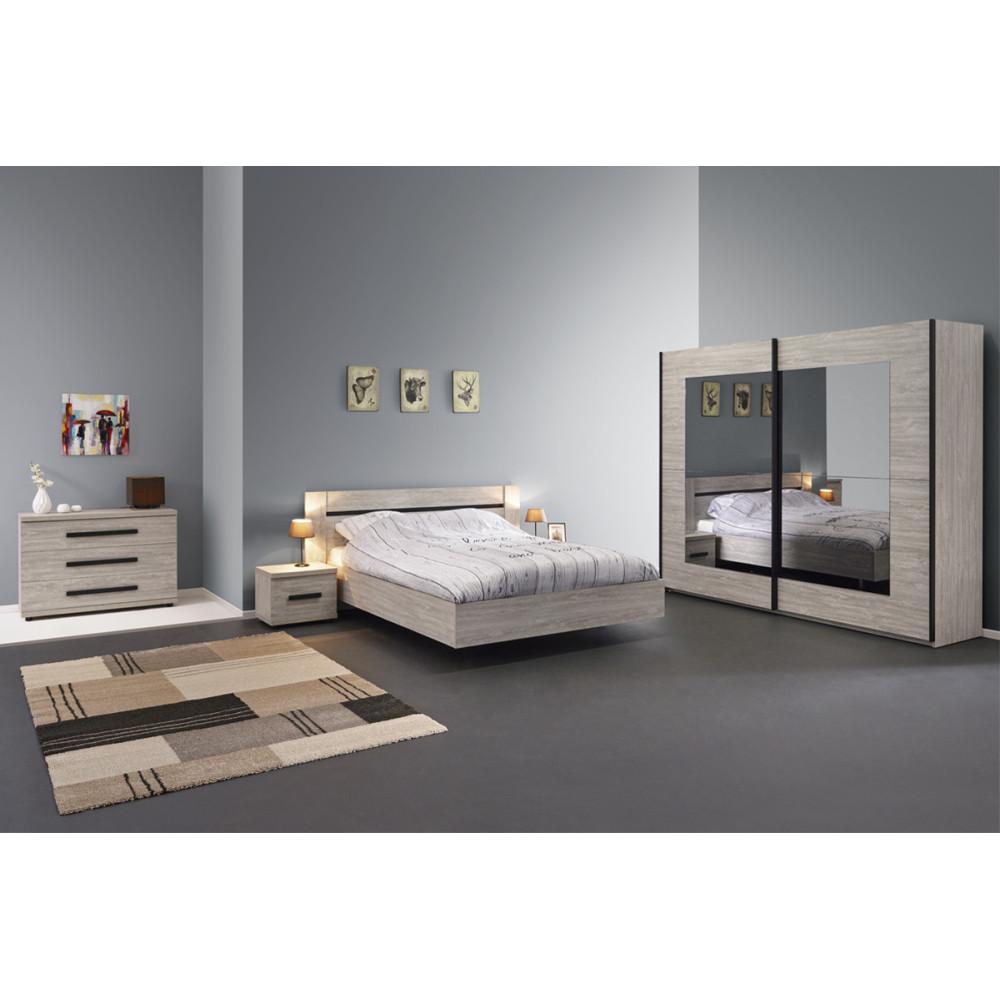 Chambre Adulte Complète (140*190) bois chêne gris moderne - Univers Chambre : Tousmesmeubles