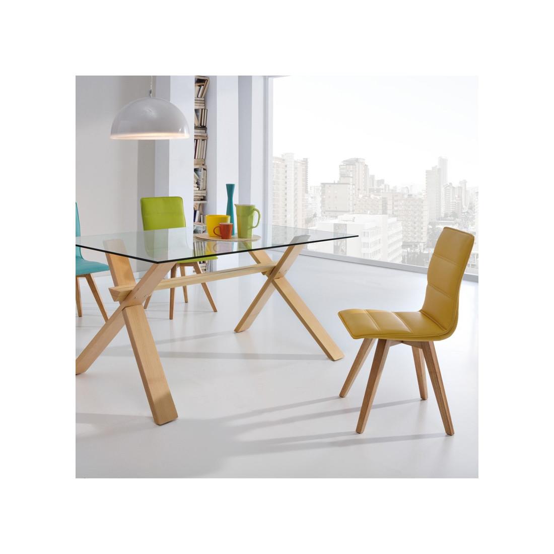 duo de chaises simili cuir jaune kano - Chaise Simili Cuir