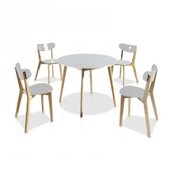 Ensemble Tables & Chaises Blanc - DAIA