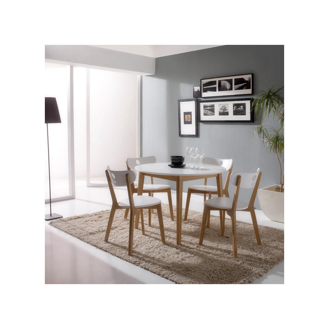 ensemble tables & chaises blanc daia - univers salle à manger