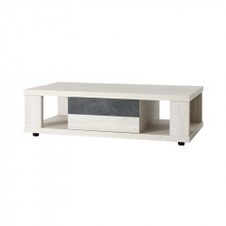 Table basse 1 tiroir bois blanchi contemporain - Univers Salon : Tousmesmeubles