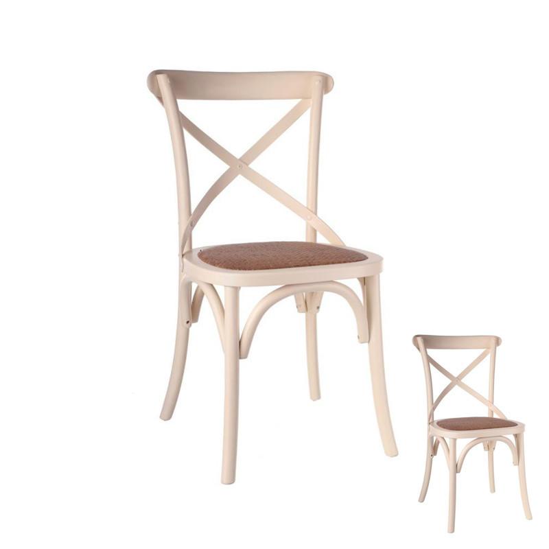 Duo de chaises Bois Crème - BRETT