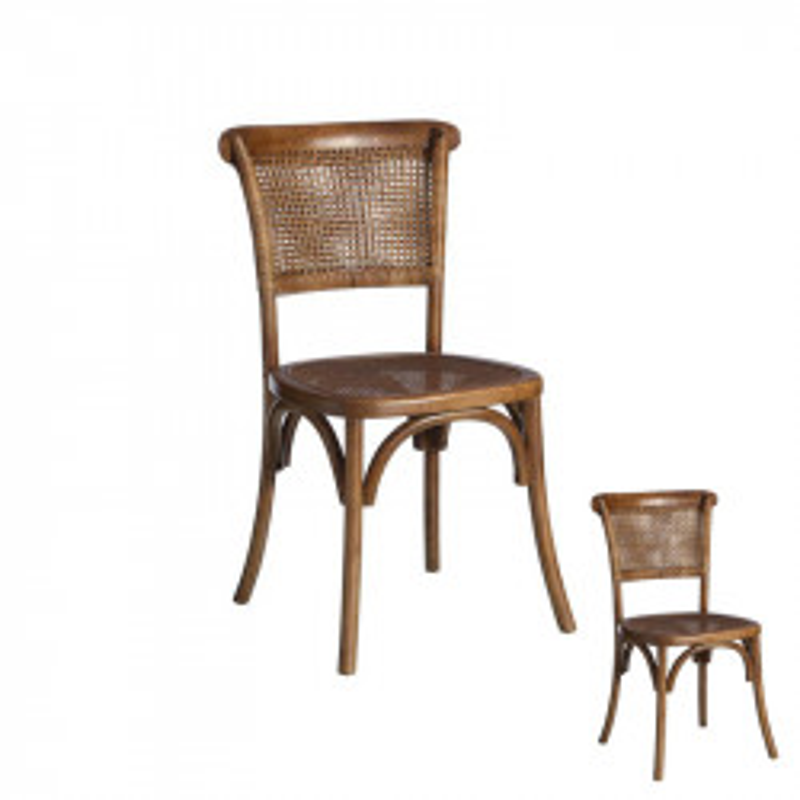 Duo de chaises Bois foncé et Rotin - BRETT