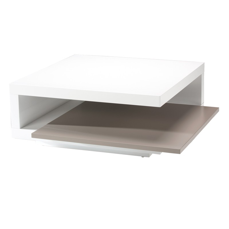Table basse carr e blanc carry univers du salon for Table basse carree bois gris
