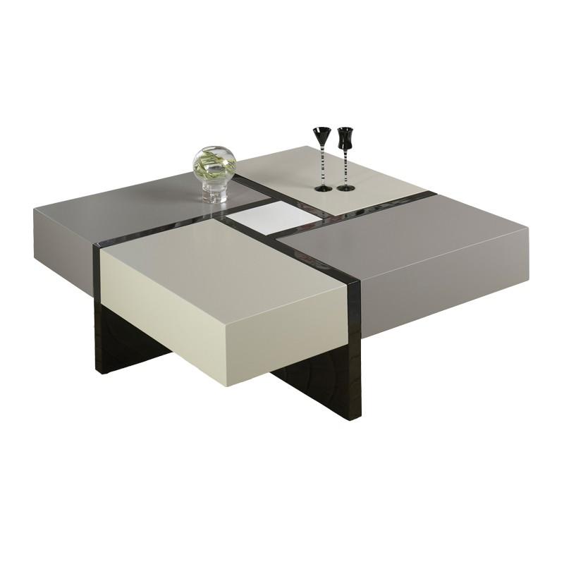 Table carre laque comparer les prix des table carre for Table basse blanche et grise