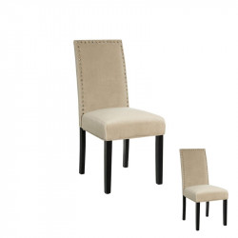 Duo de chaises tissu Beige avec clous - PABLO