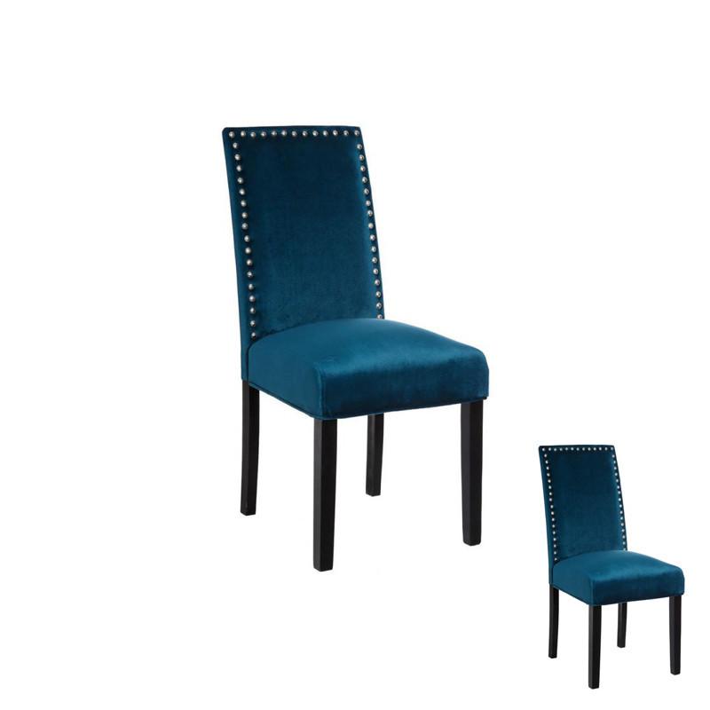 Duo de chaises tissu Bleu avec clous - PABLO