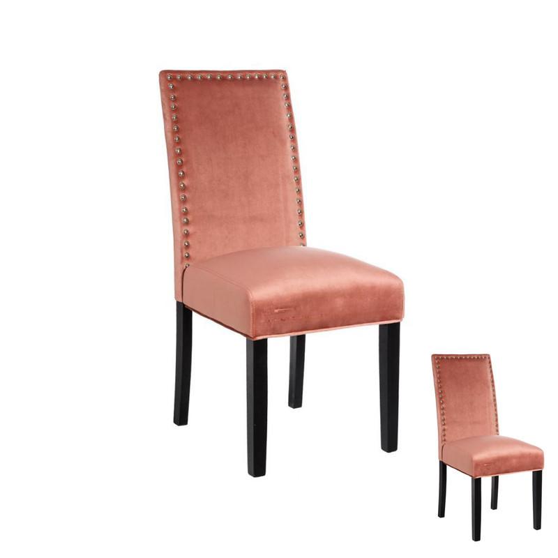 Duo de chaises tissu Rose avec clous - PABLO
