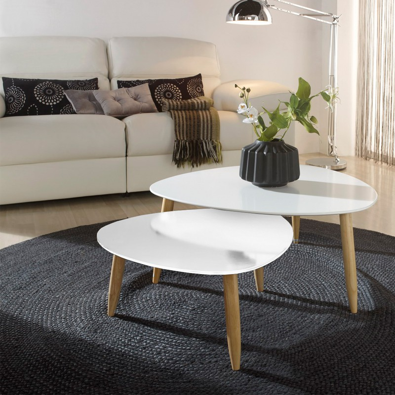 Tables gigognes blanches ovni univers salon tousmesmeubles - Table gigogne blanche ...