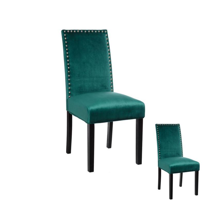 Duo de chaises tissu Vert avec clous - PABLO