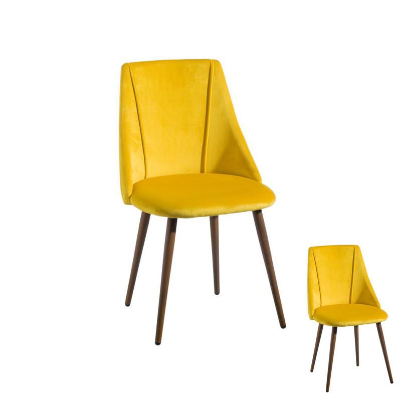 Duo de chaises velours Jaune et Bois - DONA
