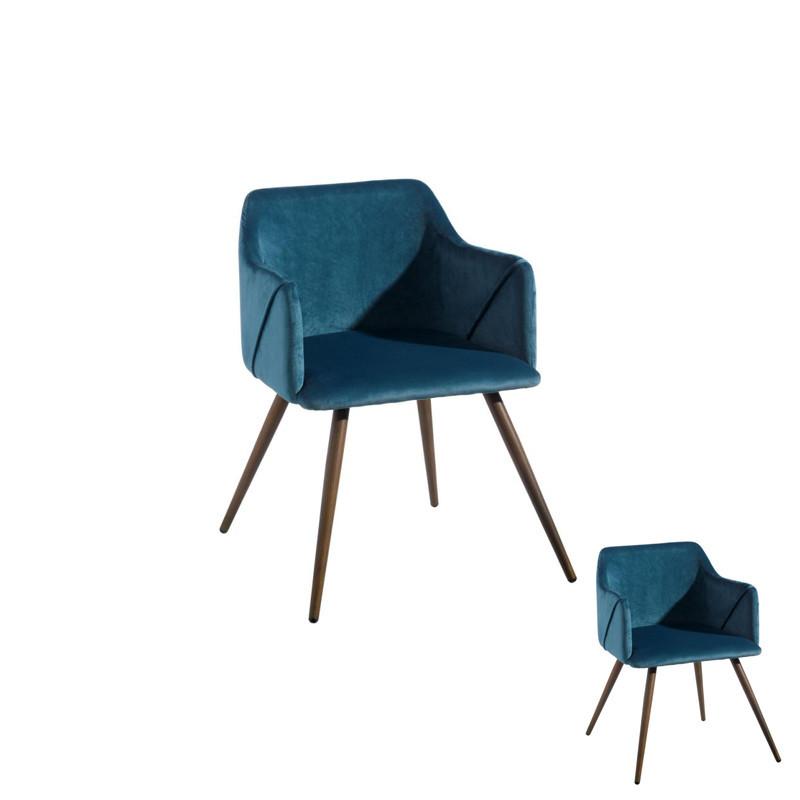 Duo de fauteuils velours Bleu et Bois - DONA