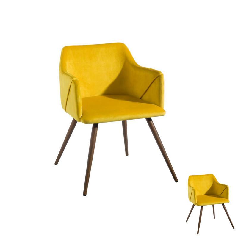 Duo de fauteuils velours Jaune et Bois - DONA
