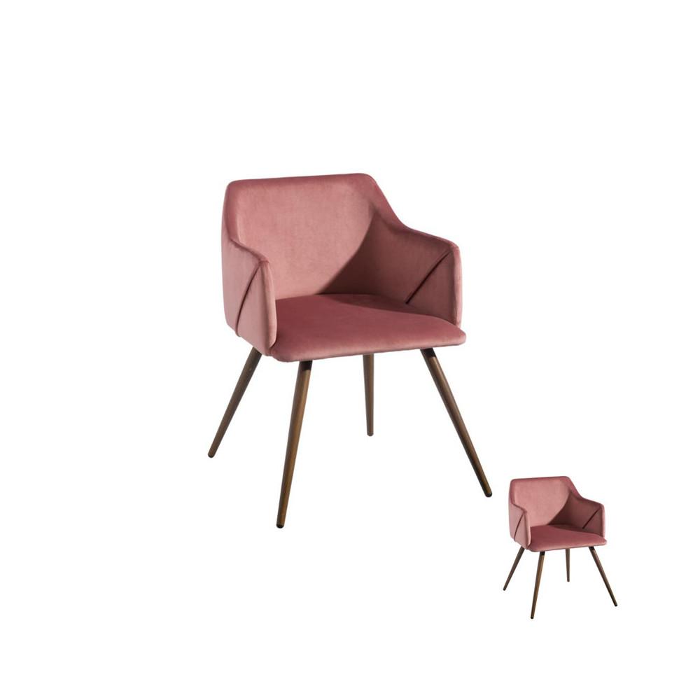 Duo de fauteuils velours Rose et Bois - DONA