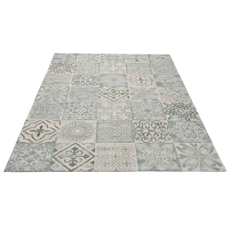 Tapis Coton gris/bleu Patchwork - SACCO
